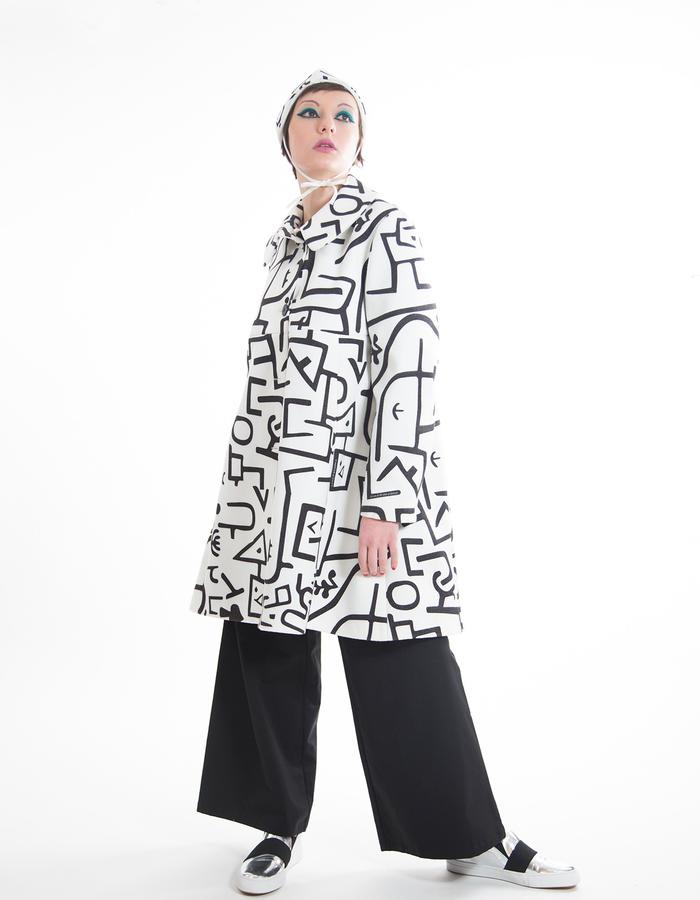 "Overcoat, printed technical fabric ""forrest"" pattern"