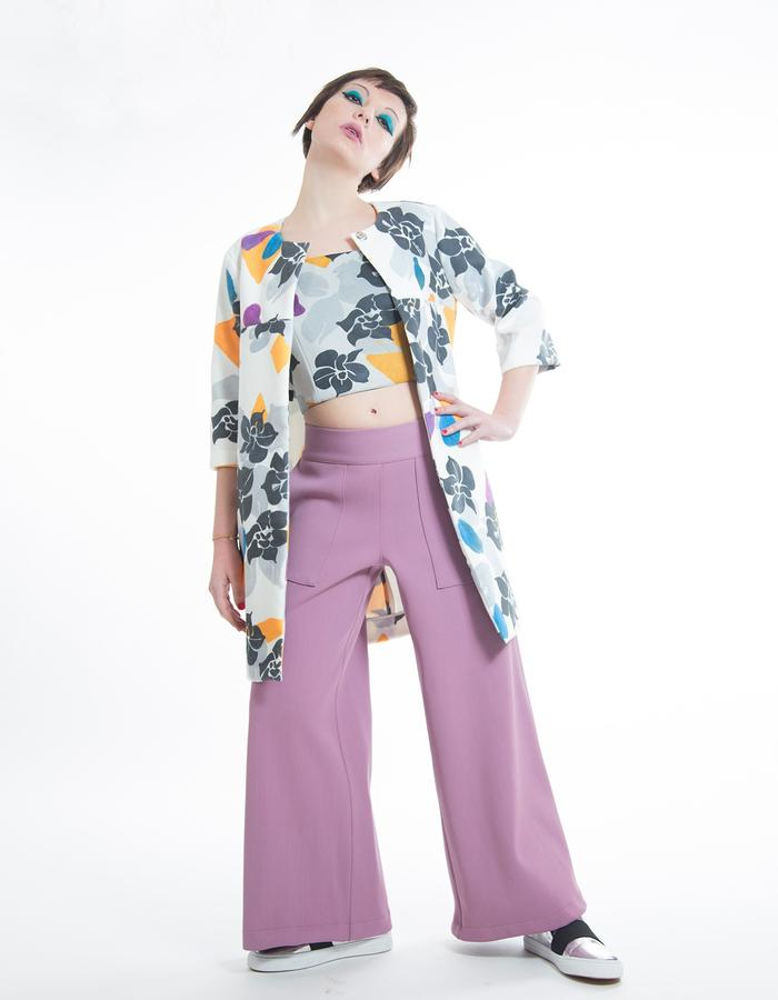"Stretch cotton culotte gown-pants. Dust jacket in printed technical fabric, ""ombre dei fiori"" pattern"