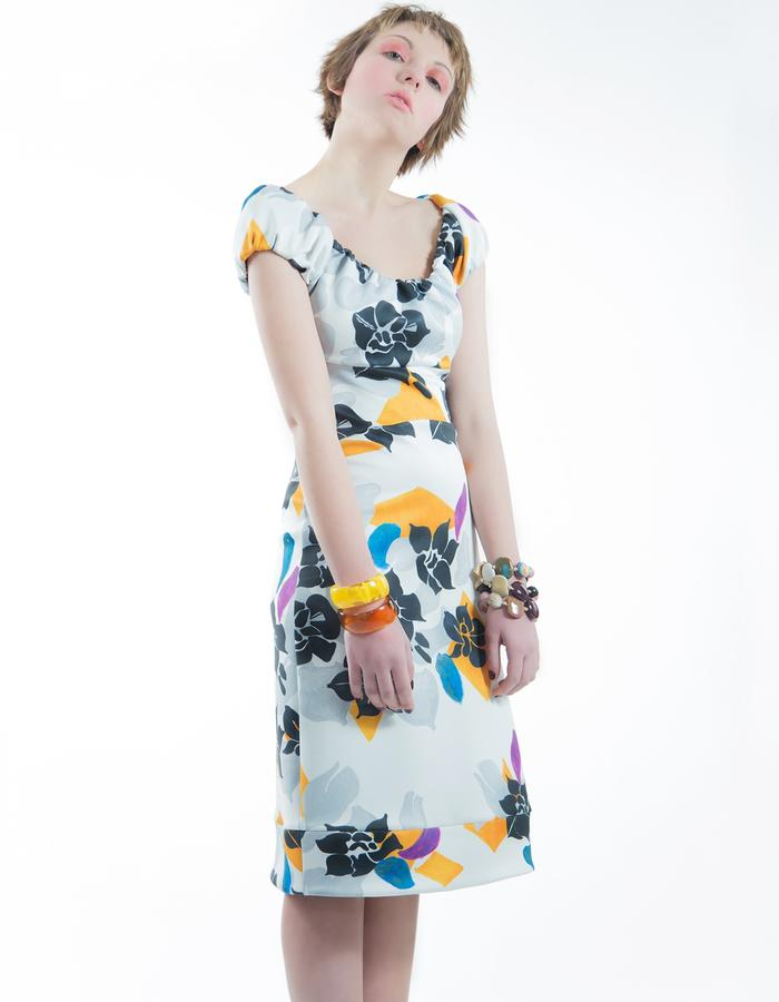 "Printed dress on technical fabric, ""Shadows of Flowers"" pattern."