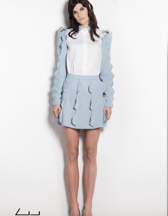 light blue wake skirt shirt sleeves