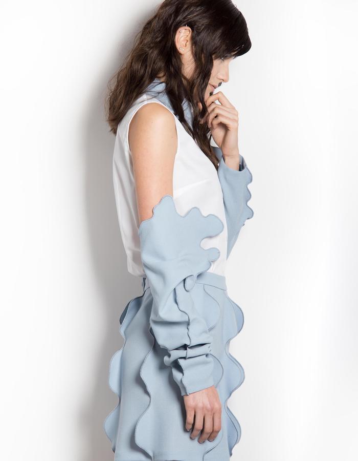 light blue wake skirt shirt sleeves funny
