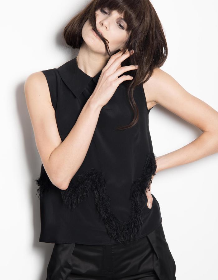 fringes black silk top