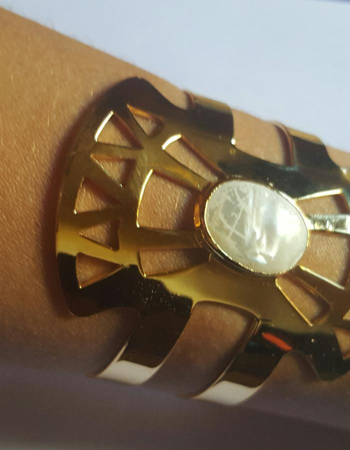 Cuff gold plated brass 21 k , mother of pearl, adjustable