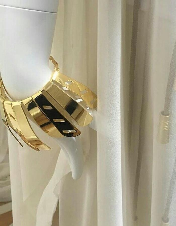 Dynamic bracelet. Gold plated brass 21 k, hand made, adjustable size