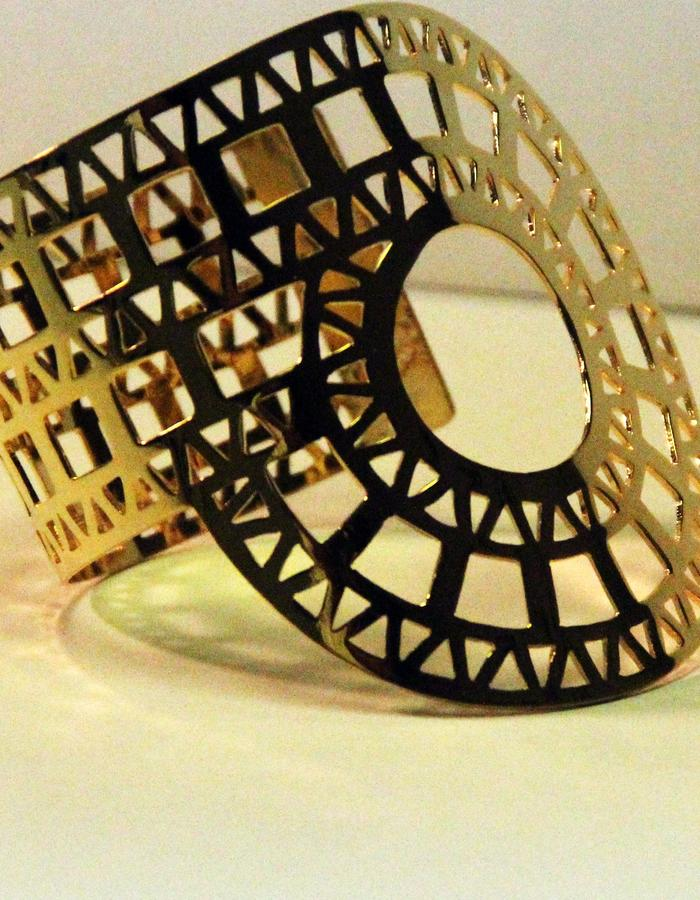 Arm cuff gold plated brass 21 k , adjustable