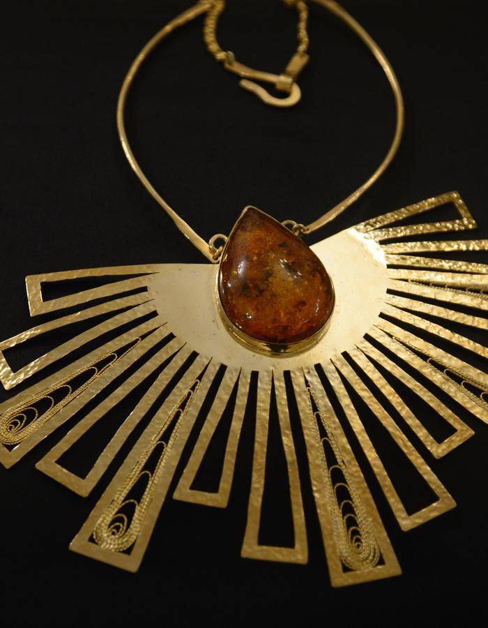 Gold plated brass 21 k, amber stone