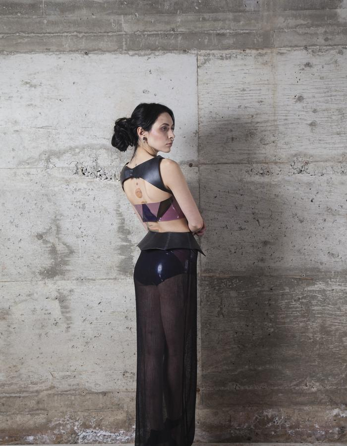 Protection Leather Plastron,Crystal Cluster Latex Busiter and High Waist Panties, protection leather belt and Deep Sea skirt