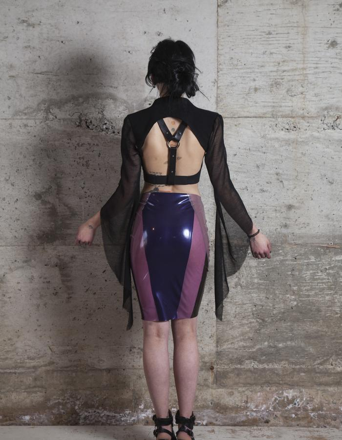 Temptress Bolero, Alchemy crop top and crystal cluster latex skirt