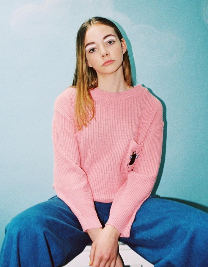 Embroidery Patch Pocket Jumper Pink