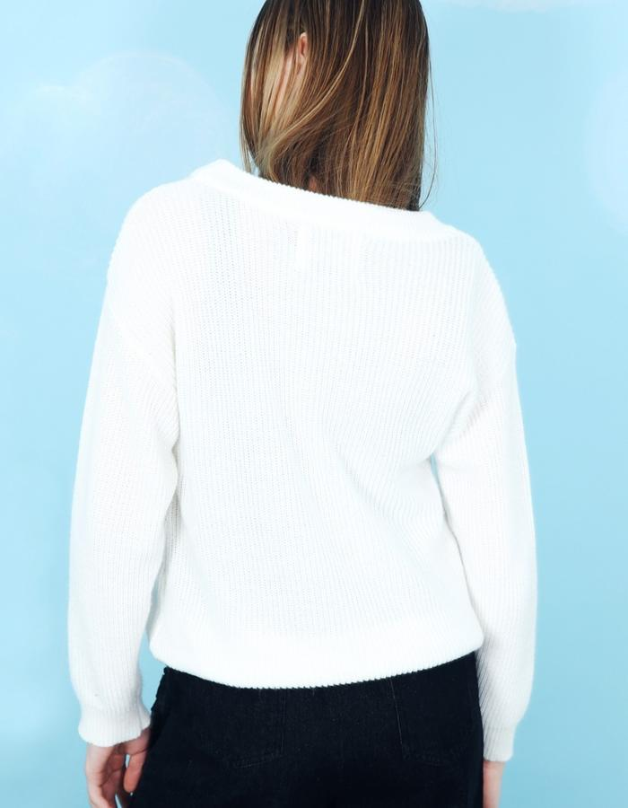 Embroidery Patch Pocket Jumper White