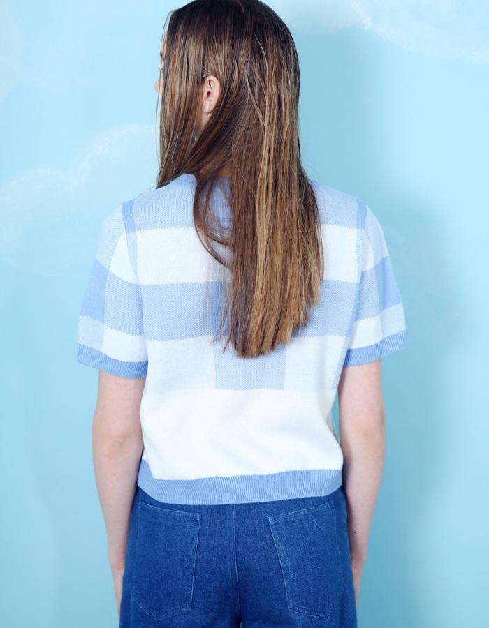 Gingham Knit T-Shirt