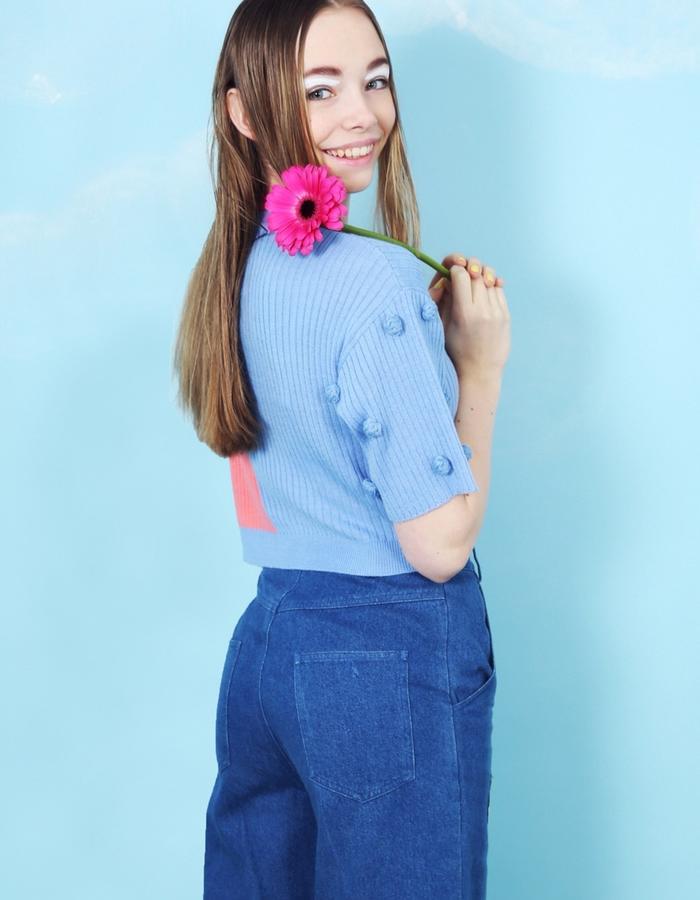 Two Colour Pom Pom Knit T-Shirt
