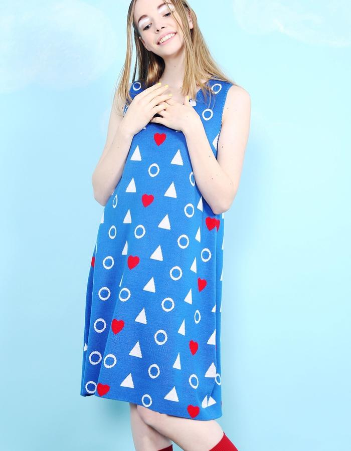 Sleeveless Heart Knit Midi Dress Blue