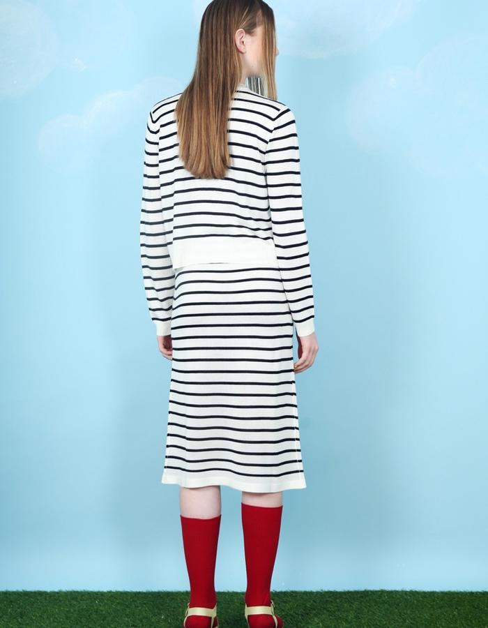 Stripe Knit Midi Skirt