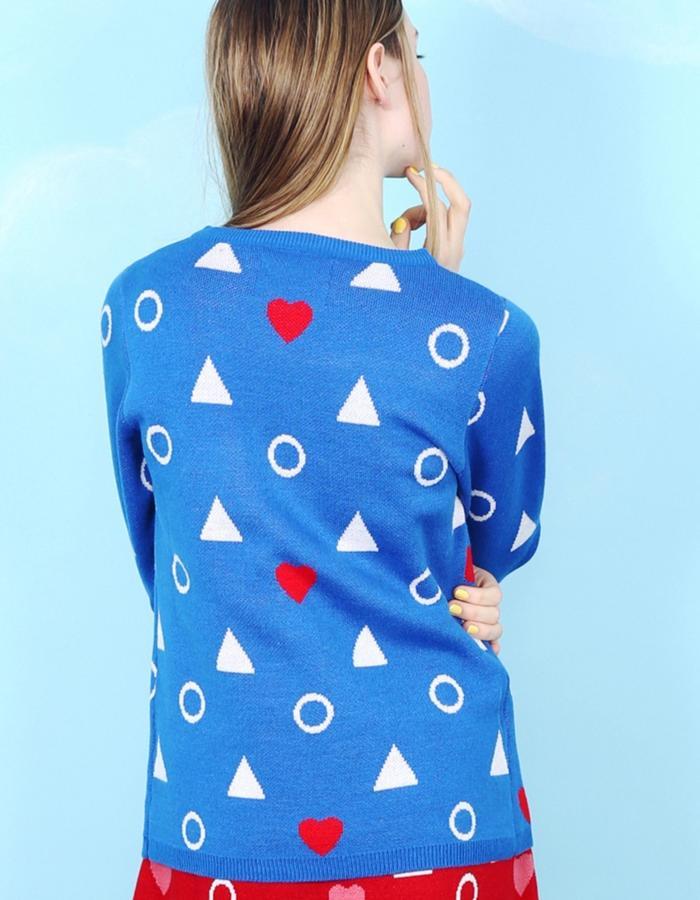 Heart Knit Jumper Blue