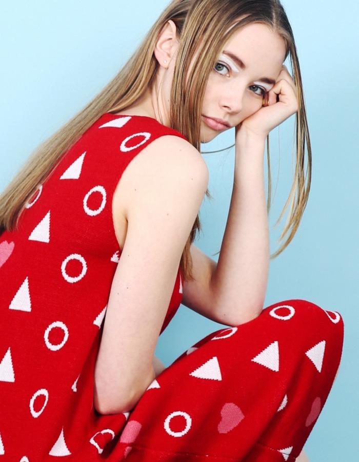 Sleeveless Heart Knit Midi Dress Red