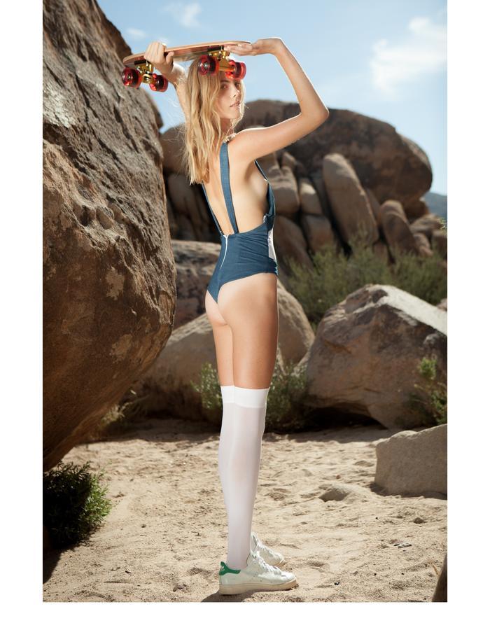 Emily Dacccarett Strech denim/mesh bodysuit/swimwear