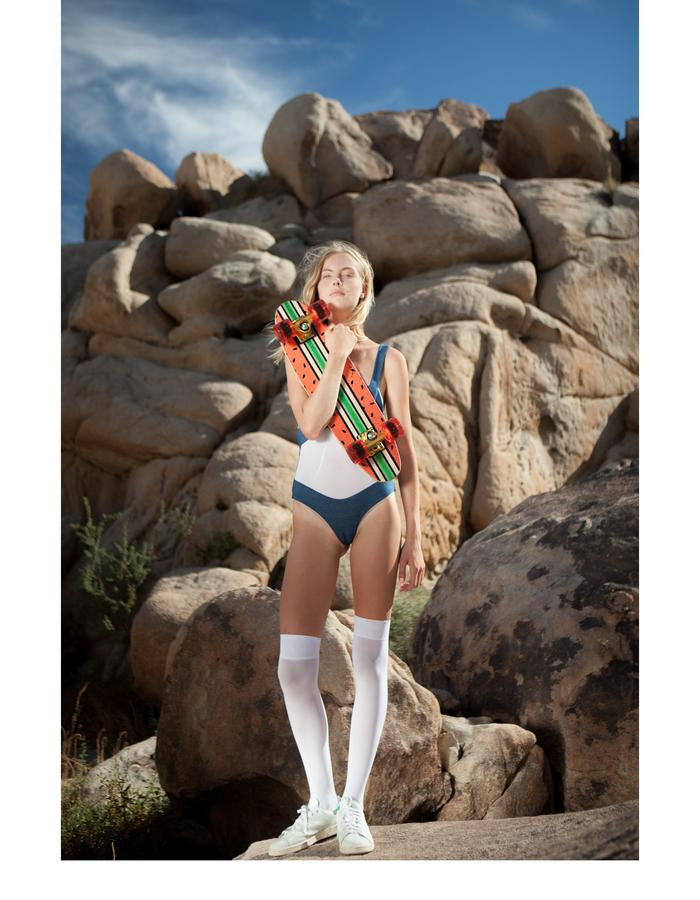 Emily Daccarett Stretch denim/mesh bodysuit/swimwear