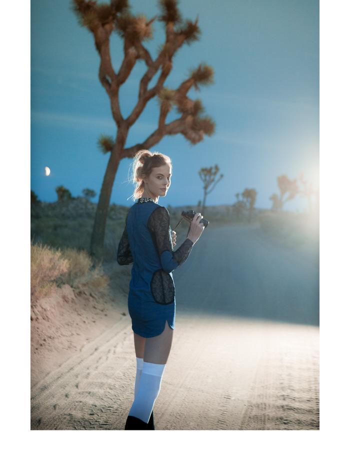 Emily Daccarett Stretch denim lace cut-out dress