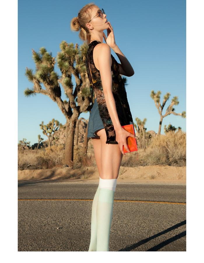 Emily Daccarett Burn-out top and stretch denim shorts