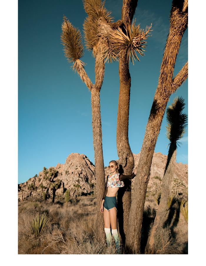 Emily Daccarett Floral crop top and stretch denim shorts
