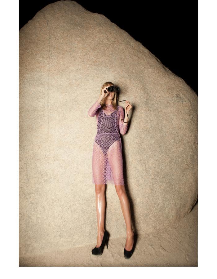 Emily Daccarett Lavendar Lace dress and black bodysuit