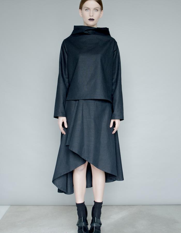 Black linen blouse and wrap skirt