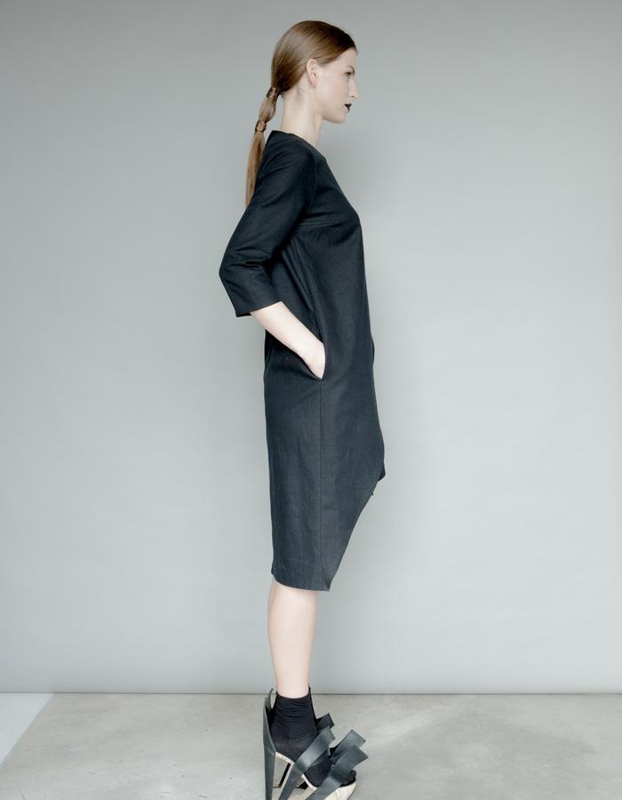 Asymeric black linen dress