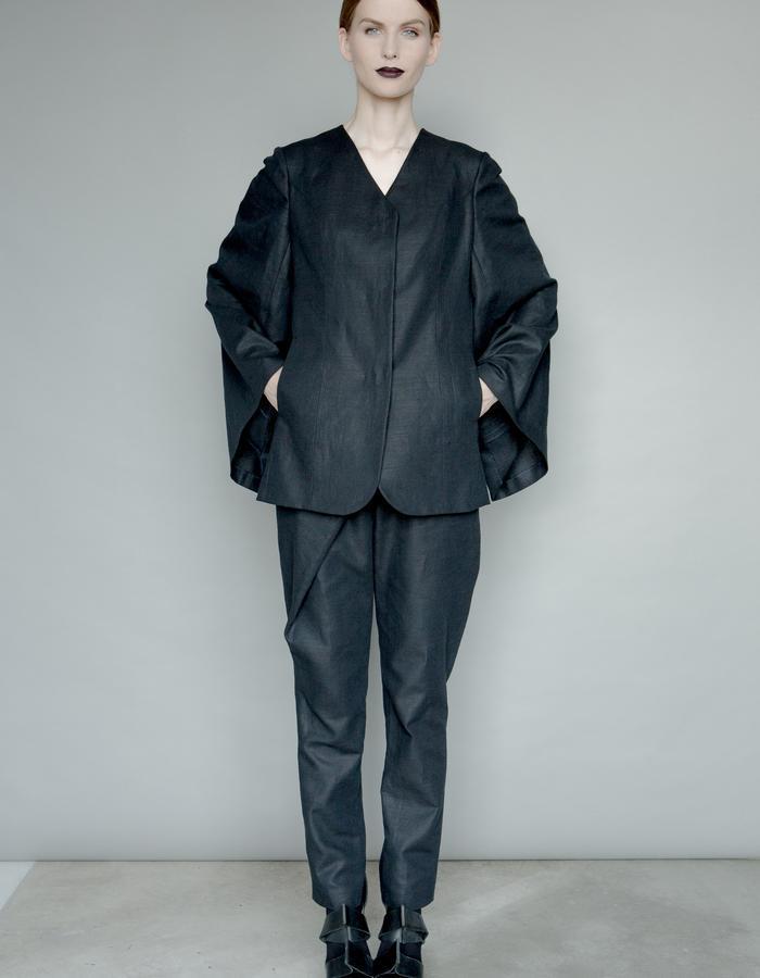 Black linen cape  jacket