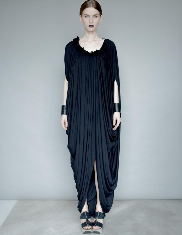 Draped black Jersey dress
