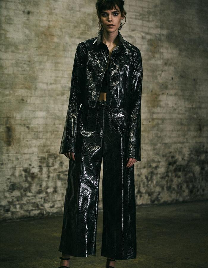 Nina Snakeskin Jacket + Ainsley Snakeskin Pant