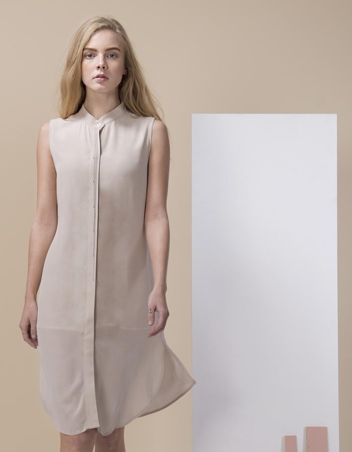GINLEE Tai Dress - Viscose Dress with Embroidery . Photo: Tamir Niv Art: Noam Sandel