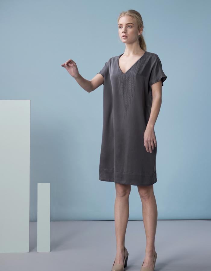 GINLEE Warp Dress - Embroidery on sandwashed silk satin. Photo: Tamir Niv Art: Noam Sandel