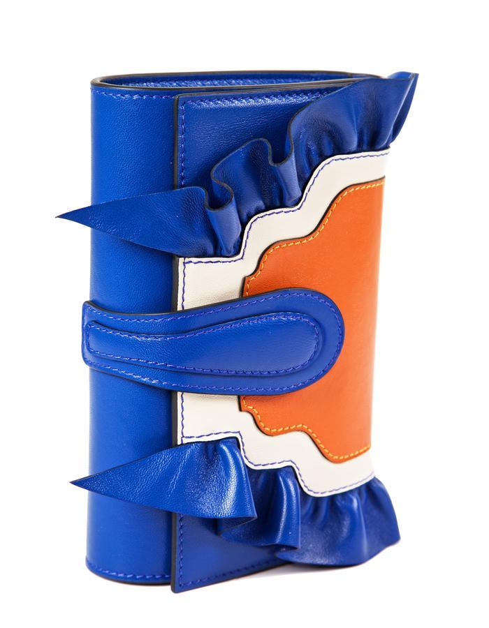 marie de la roche butterly clutch electric blue italian leather