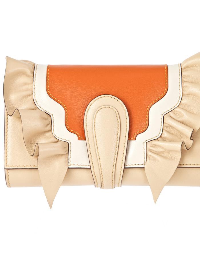 marie de la roche butterly clutch nude italian leather