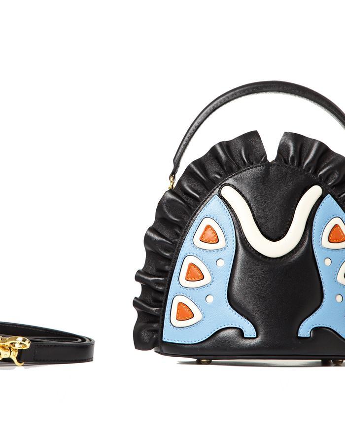 marie de la roche farfalla handbag black serenity italian leather