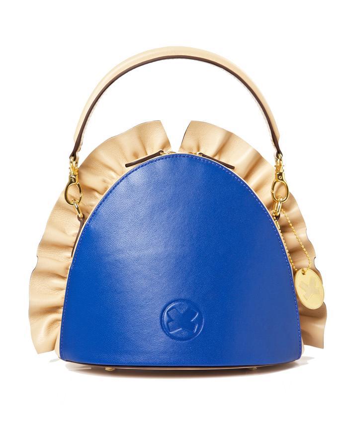 marie de la roche farfalla handbag nude blueitalian leather