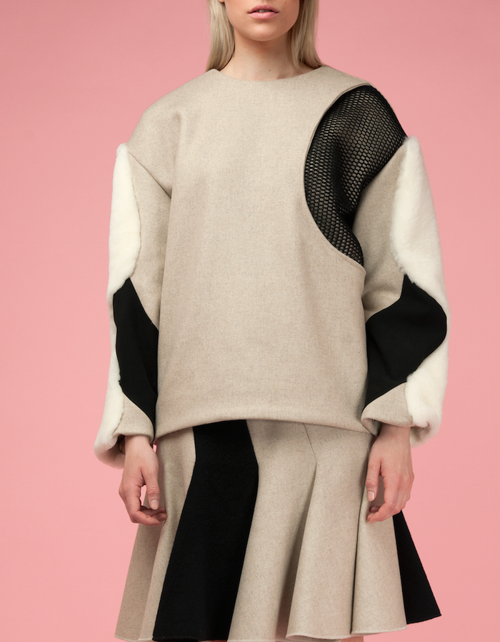 Material: Cashmere, Wool, Shearling, Mesh.