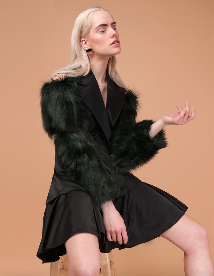 Material: Mesh, Satin, Silver fox fur.