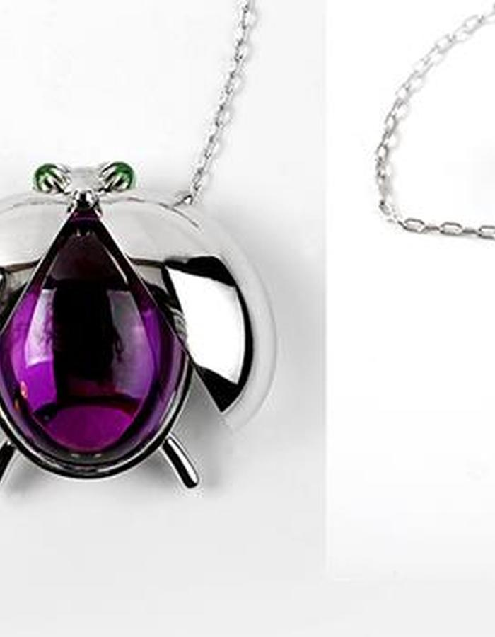 AMETHYST BUG NECKLACE 14K white gold bug necklace with amethyst 24.31ct, 2 pc tsavorites 0.63ct