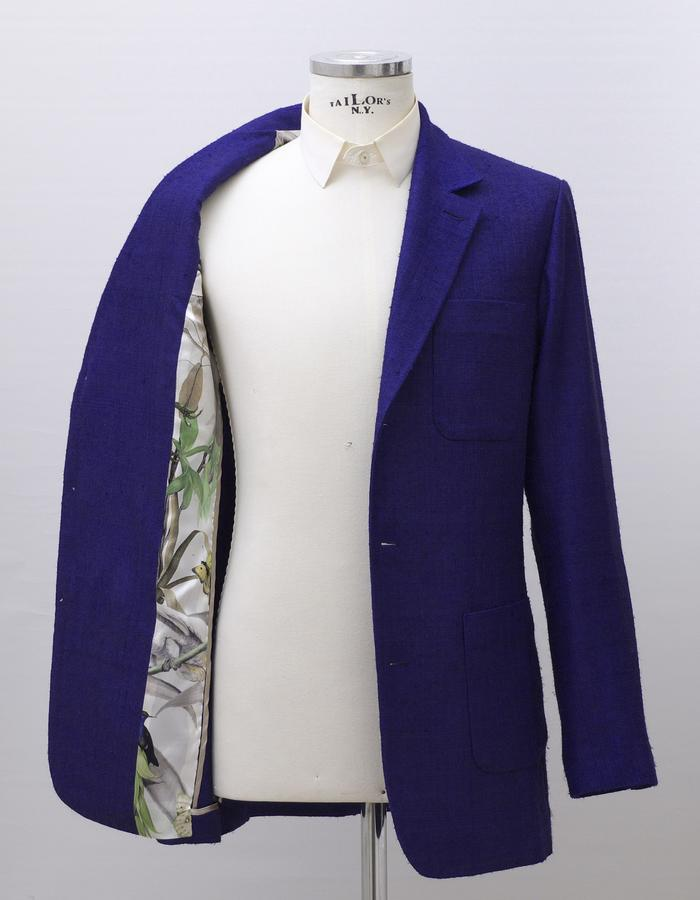 Single jacket made of vintage French raw-silk fabric with full canvas construction in English style.