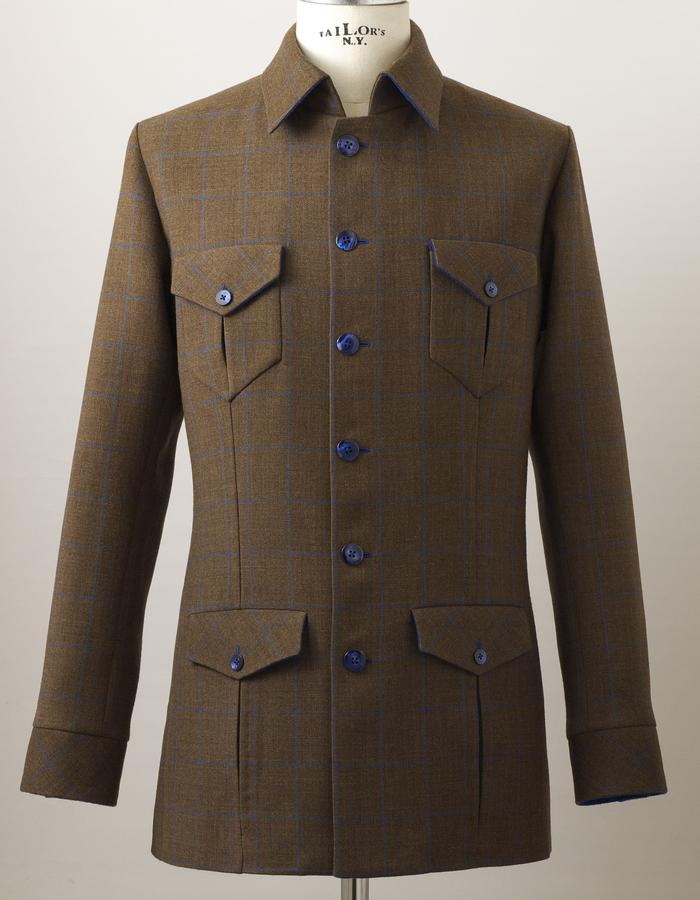 Single jacket made of Italian double wool without under-structure in English style.