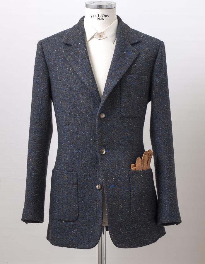 Extra heavy-weight Irish Donegal coatfabric by Dashing Tweeds with high traditional English Cut and full canvas making