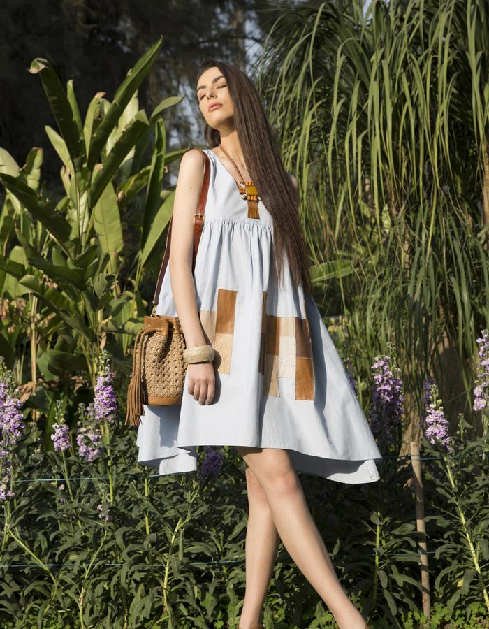 THE SUN DRESS WITH LEATHER POCKETS
