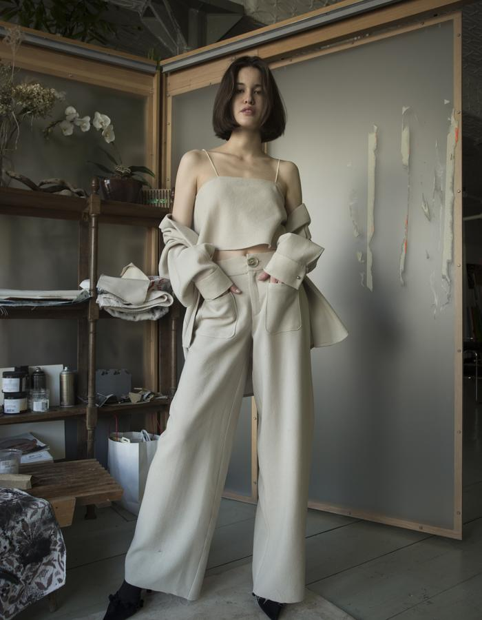 CAMI, WOOL CREPE / WIDE LEG TROUSERS, WOOL CREPE