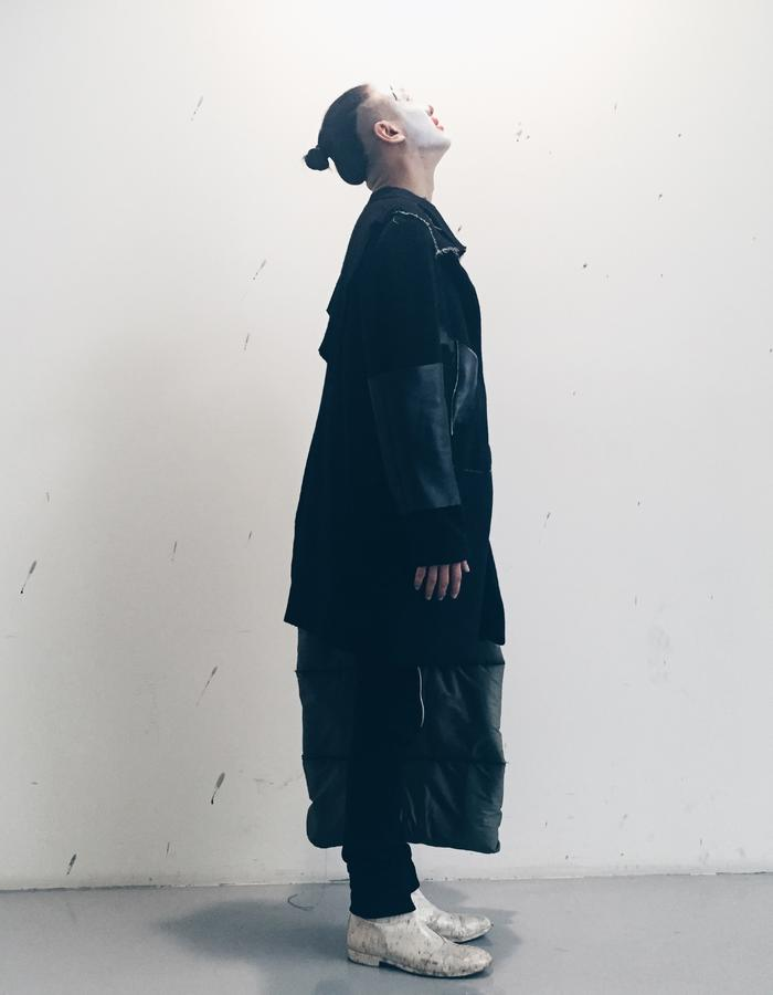 Wool Coat with felted Leather Panel