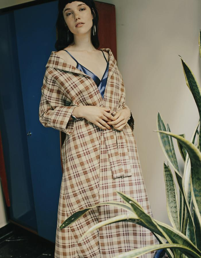Raina Mineral Slip & Ingrid Plaid Coat