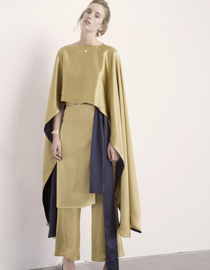 Malachite Reversible Cape, Citrine Skirt, & Citrine Pant