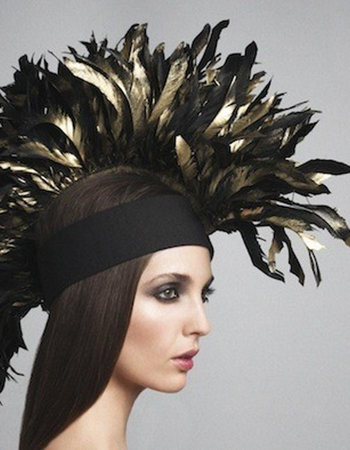 MOHAWK HEADPIECE IN GOOSE FEATHERS, HEADBAND IN COTTON