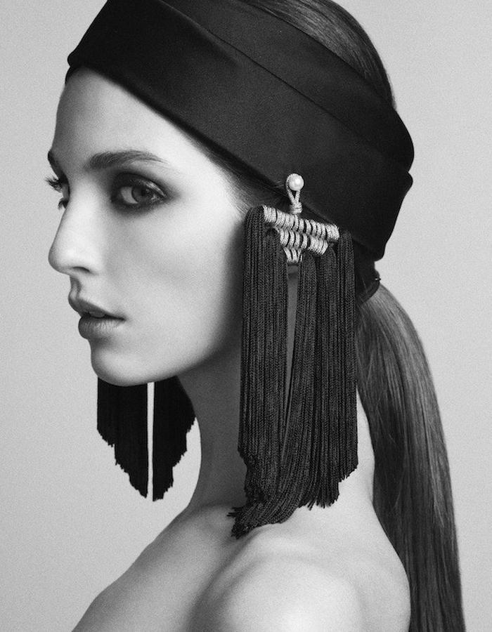TURBAN IN SILK DUCHESSE SATIN WITH EMBROIDERED POMPOMS